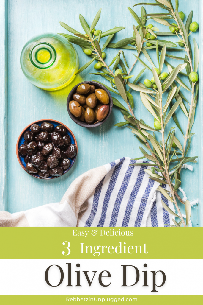 Easy & Delicious 3 Ingredient Olive Dip. Green and black olives, olive tree sprigs